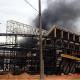 Incêndio atinge a área interna da Arena Pantanal em Cuiabá