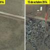 Fotos del Satélite antes y después la ofensiva del EI y el bombardeo de EE.UU.