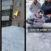 VIDEO Se prende fuego y se tira de un 9 piso Russian Badass Sets Himself On Fire And Jumps